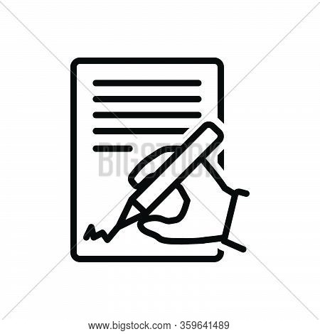 Black Line Icon For Agree Concur Consent Permit Terms Conditions Accept Agreement Document Condition