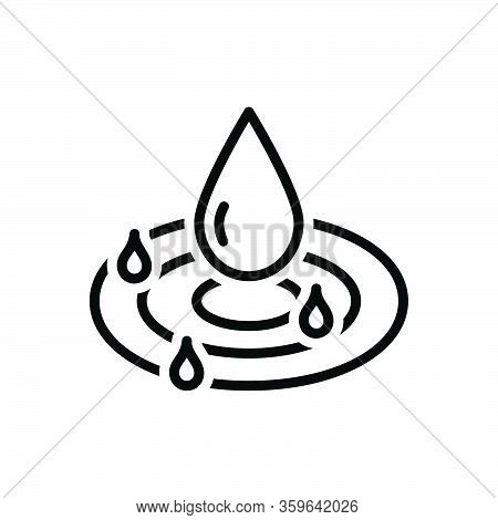 Black Line Icon For Pure Drop Droplet Water Clean Drinkable Fresh Beverage Nature
