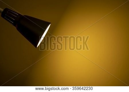 Black Fixture Lamp With White  Wall Background
