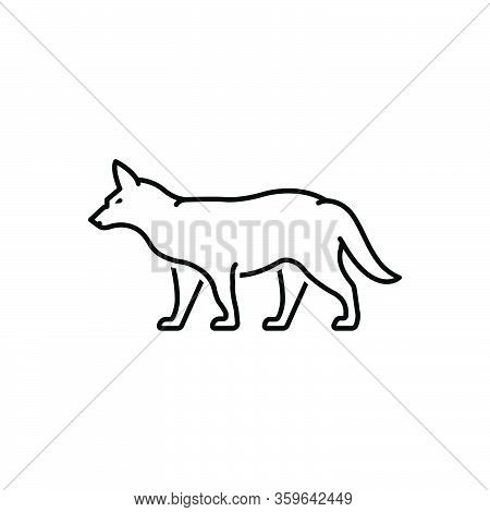 Black Line Icon For Fox Omnivores Tail Clever Nature Animal Jungle Wildlife