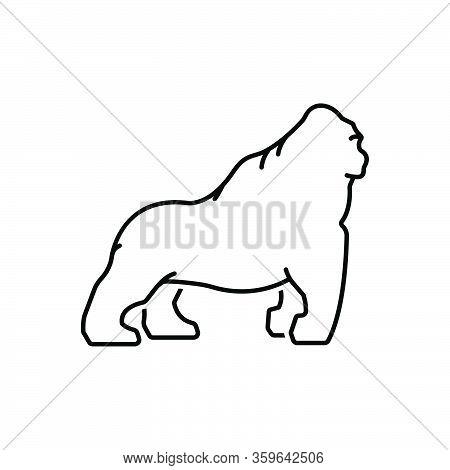Black Line Icon For Gorilla Ape Angry Animal Chimpanzee Herbivore Nature Jungle Wildlife Zoo
