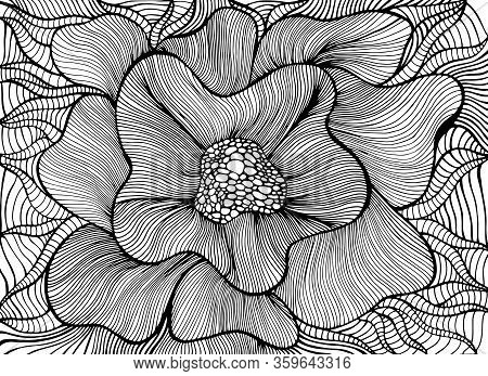 Fantasy Artistic Beautiful Flower Coloring Page. Vector Hand Drawn Illustration With Elegant Floret.