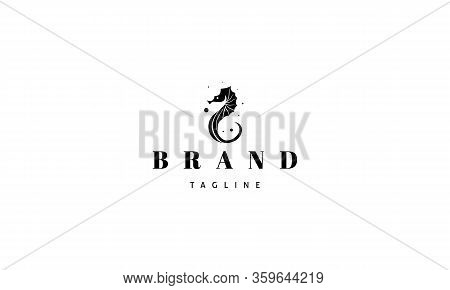 Vector Logo On Which An Abstract Image Of A Seahorse.