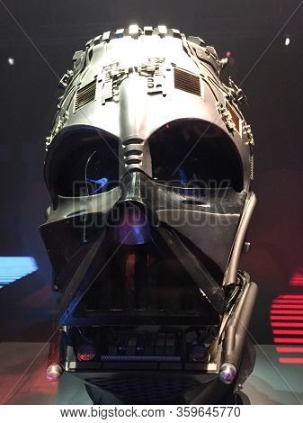 Bruxelles / Belgium - 08 21 2018 : Star Wars Darth Vader Mask In Starwars Identities Exhibition