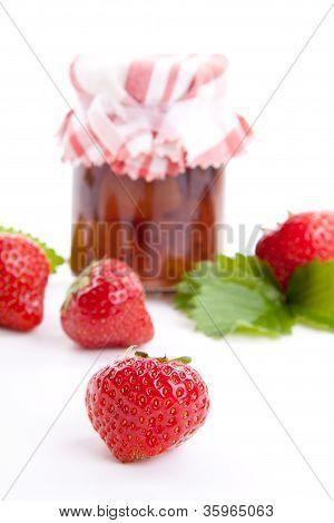 Deliscious Strawberry Jam With Fresh Fruits Isolated