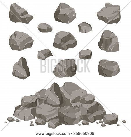 Ollection Of Stones Of Various Shapes. Rocks And Debris Of The Mountain. A Huge Block Of Stones. Sto