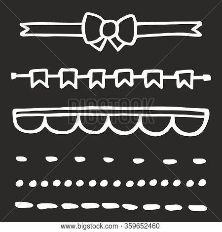 Hand Drawn Vector Illustration Set On Black Background