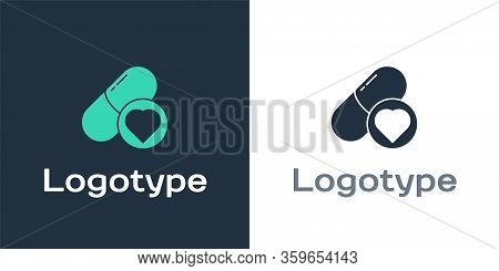 Logotype Pills For Potency, Aphrodisiac Icon Isolated On White Background. Sex Pills For Men And Wom