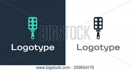 Logotype Spanking Paddle Icon Isolated On White Background. Fetish Accessory. Sex Toy For Adult. Log