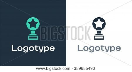 Logotype Movie Trophy Icon Isolated On White Background. Academy Award Icon. Films And Cinema Symbol