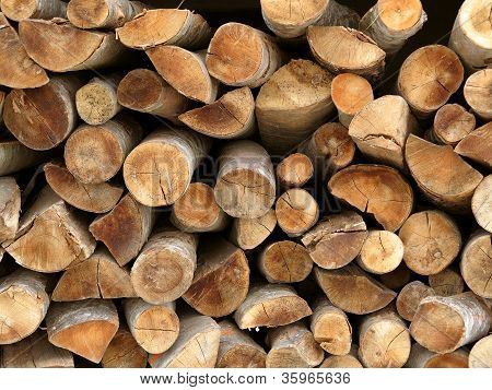 Dry Chopped Firewood Logs Stacked Up On Top Of Each Other In A Pile