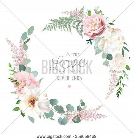 Greenery, Pink And White Peony, Rose Flowers Vector Design Round Invitation Frame. Rustic Wedding Gr