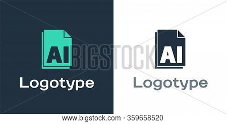 Logotype Ai File Document. Download Ai Button Icon Isolated On White Background. Ai File Symbol. Log