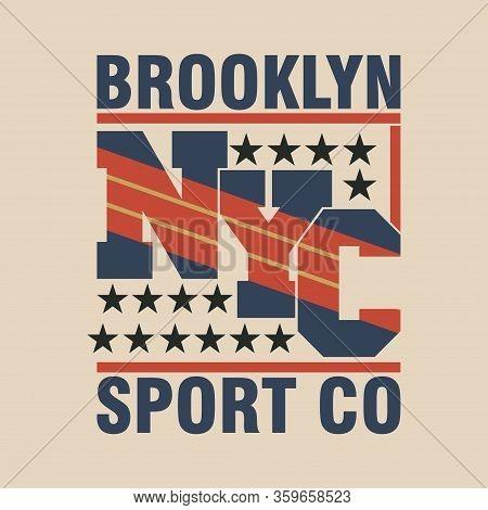 New York Typography, Brooklyn T-shirt, Design Graphic, Printing Man Nyc