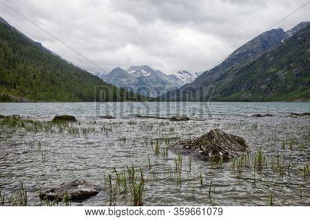 Medial Multinskiye Lake, Altai Mountains, Russia. Summer Landscape
