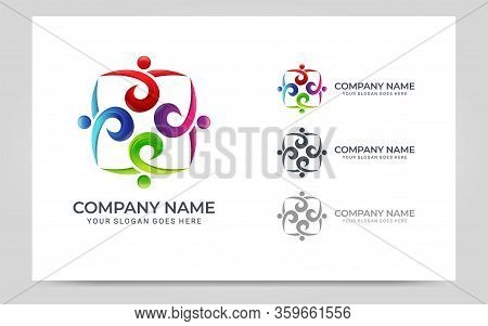 Abstract Logo Of People, Business, Foundation, Community, Human Caring, Health Workers.