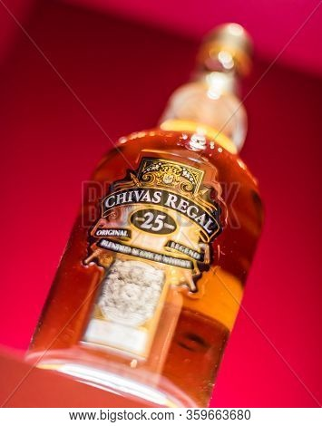 Singapore - Mar 7, 2020: Bottle Of Chivas Regal 25, A Blended Scotch Whisky Made From Whiskies Matur