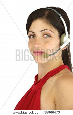 Happy Beautiful Call Center Girl Smiling