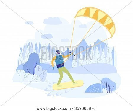 Riding Board In Snow, Kiteboarding With Parachute. Athlete In Warm Clothes Quickly Move On Snowboard