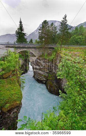 One of the biggest waterfalls in Norway Scandinavia Europe poster