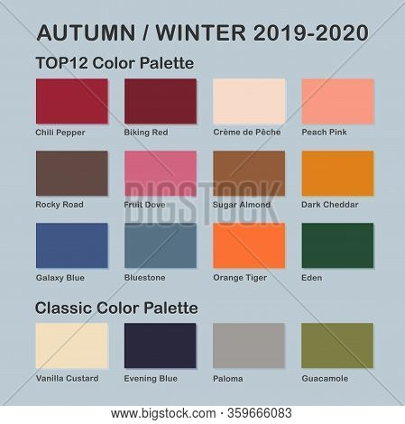 Autumn / Winter 2019-2020 Trendy Color Palette. Fashion Color Trend. Palette Guide With Named Color