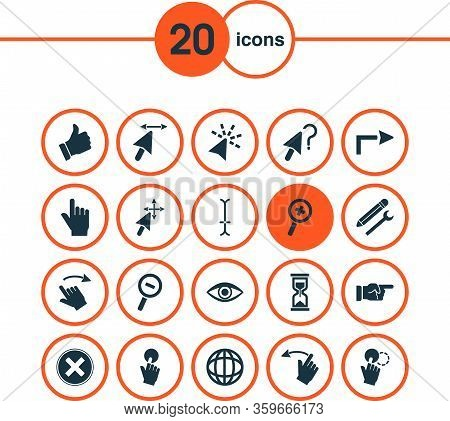 Cursor Icons Set With Forward Sign, Hand Dragging, Globe Sign Worldwide Elements. Isolated Vector Il