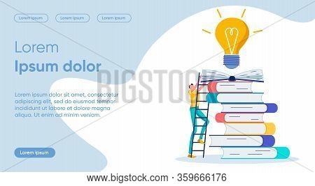 Way To Idea Flat Landing Page Vector Template. Purpose Pursuit, Work On Idea. Reading Books Metaphor