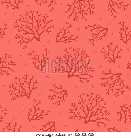 Coral Seamless Pattern.tropical Reef. Corals On Pink Background With Air Bubbles. Vector Seamless De