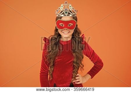 Success Is State Of Mind. Happy Girl Enjoy Success Orange Background. Little Child Being Excited Abo