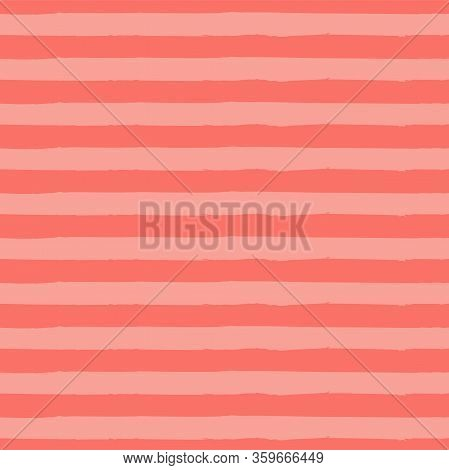 Striped Seamless Vector Pattern. Abstract Vintage Noisy Textured Striped Background. Living Coral Te