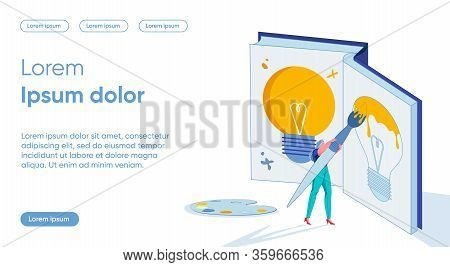 Woman Cartoon Character Creating And Developing New Original Idea Or Commercial Plan. Business Creat