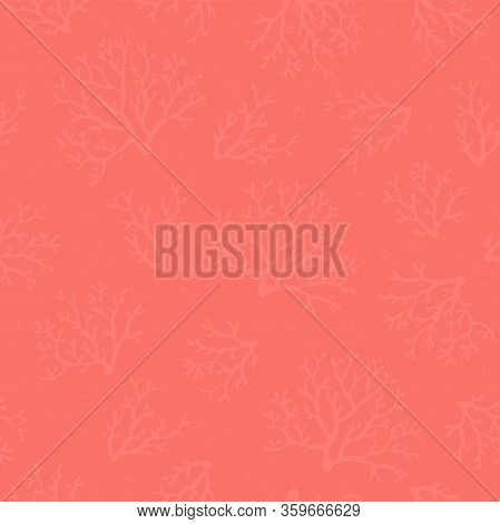 Coral Seamless Pattern. Coral Texture. Corals On Coral Background With Air Bubbles. Vector Design Fo