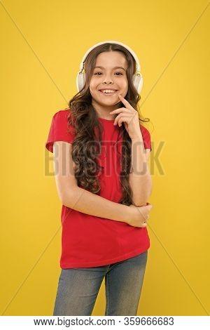 Catch The Rhythm. Kid Listening Music Headphones. Music Beat Concept. Entertainment And Fun. Top Sum