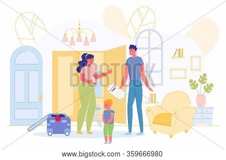Husband Holding Divorce Form And Wife Quarrel. Sad Scared Little Boy Son Standing Near Angry Parents