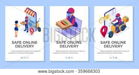 Online Food Order And Package Delivery Service Food Shipping Isometric Courier In Mask Pandemic Quar