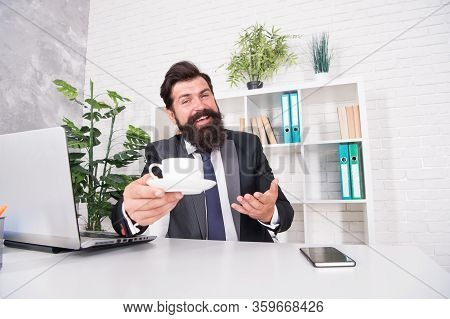 Please Have Some And Enjoy. Happy Boss Serve Hot Cup At Desk. Employer Enjoy Coffee In Office. Morni