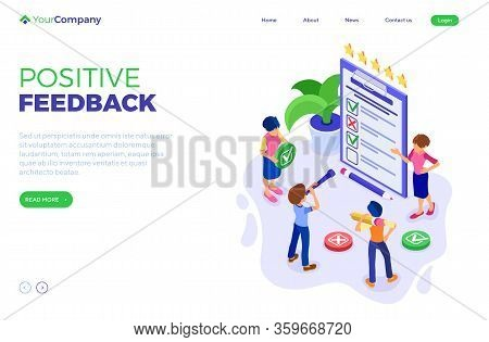 Survey Positive Feedback Or Test Banner With Isometric Characters. Feedback Rating. Man And Woman Qu