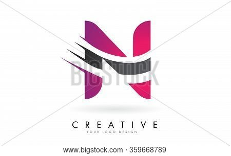 N Letter Logo With Pink And Grey Color Block Design And Creative Cut. Creative Logo Design.