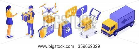 Isometric Online Shopping Delivery Logistics Concept. Delivery Goods Drone Truck Cart Deliveryman Wi