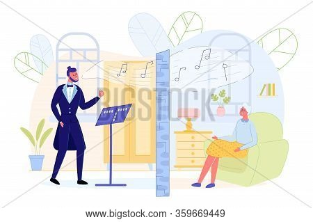 Neighbor Listens To Rehearsal Singer Through Wall. An Opera Singer Rehearsing. Behind Another Wall,
