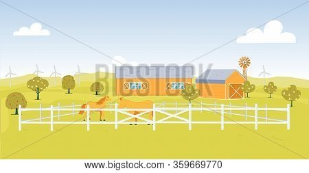 Wooden Corral On Field Next To Stall And Windmill. Livestock Grazing In Fenced Area, Graceful Horse