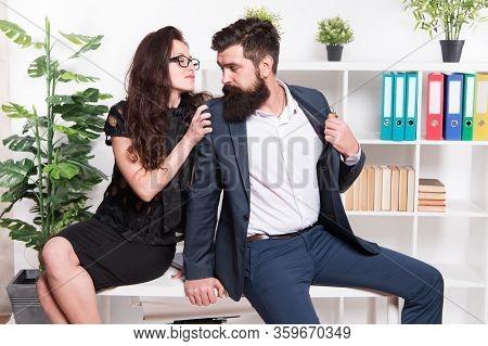 Love Inspire. Sexy Woman Hug Businessman. Love Affair At Workplace. Couple In Love. Boss And Secreta