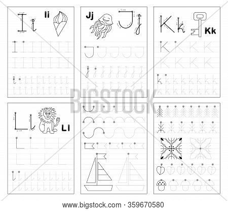 Set Of Black And White Educational Pages On Line For Kids. Learn To Trace Alphabet Letters. Printabl