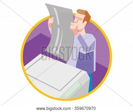 Prepress At Work, Computer-to-plate Or Ctp, Design And Print Service, Vector Icon Illustration.