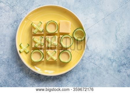 Tic Tac Toe Sandwich. Fresh Bread, Cheese And Cucumber
