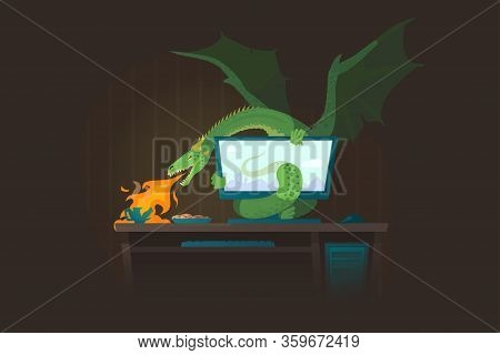 Green Dragon Vector Illustration. Fantasy Scene With A Dragon Bursting Out Of A Computer Screen And