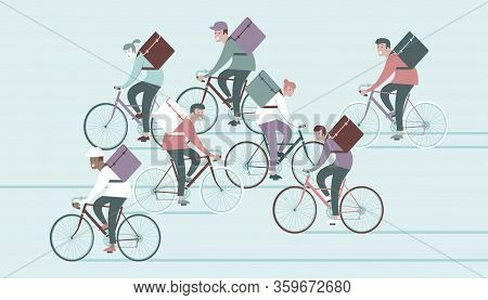 Bicycle Delivery Logistics Couriers. Cool Courier Person Characters Riding Bicycle With Delivery Box