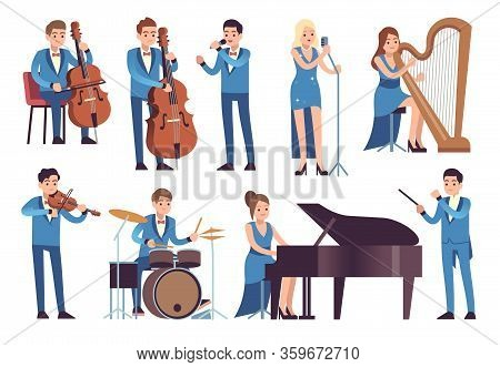 Classic Musicians. Singers Performing, Symphony Concert With Orchestra Instruments Cello, Piano And
