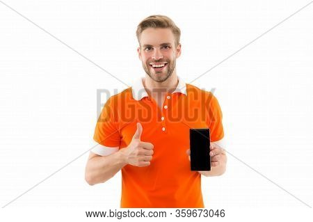 Best Phone For Browsing. Happy Guy Give Thumbs Up To Phone. Handsome Man Hold Cell Phone. 3g. 4g. Mo