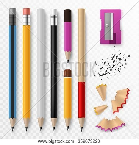 Pencil Mockup. Realistic Colored Wooden Graphite Pencils With Shavings And Sharpener, School Office